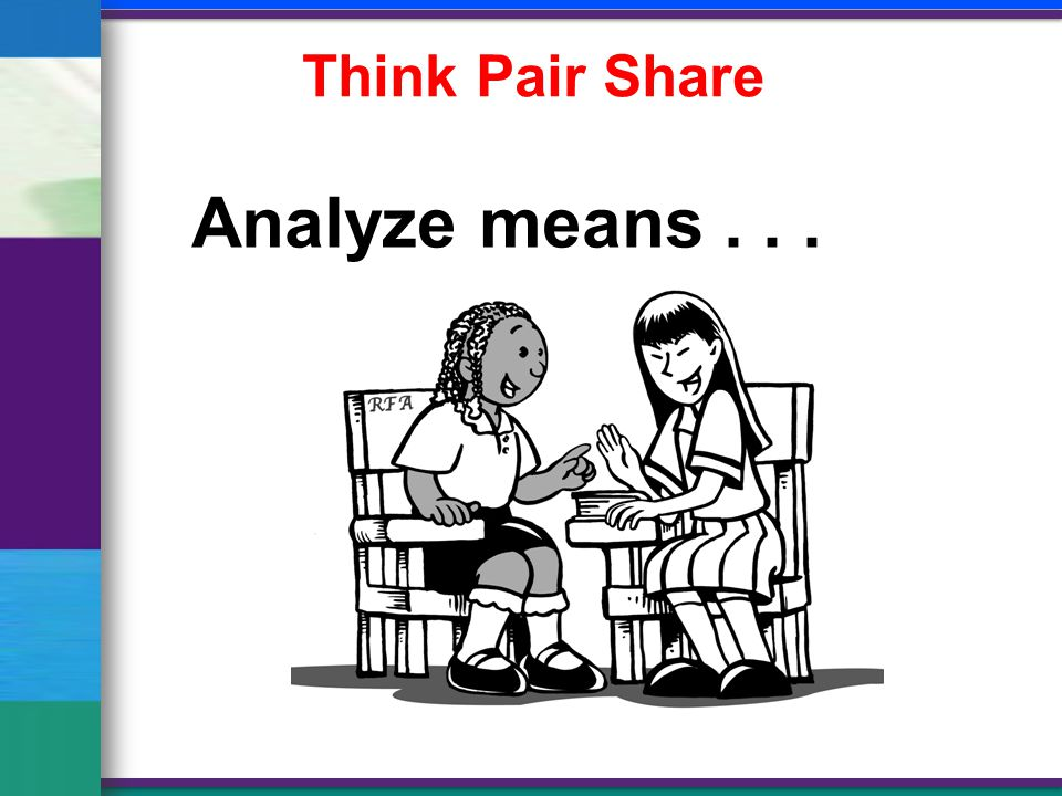 Think Pair Share Analyze means...