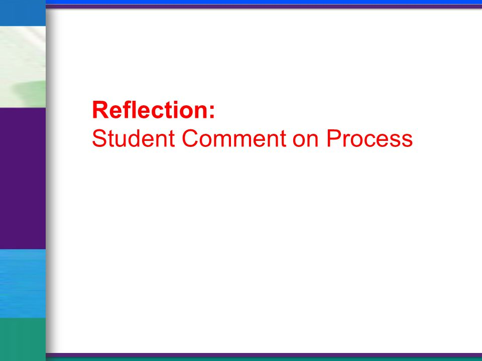 Reflection: Student Comment on Process