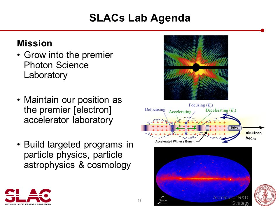 SLACs Lab Agenda Mission Grow into the premier Photon Science Laboratory Maintain our position as the premier [electron] accelerator laboratory Build