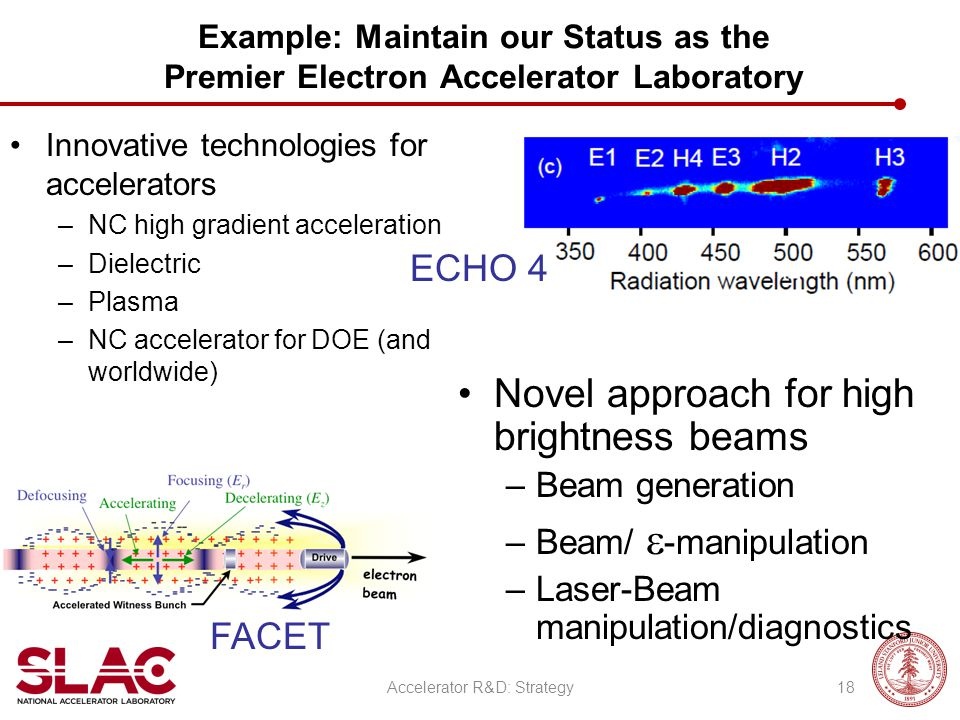 Example: Maintain our Status as the Premier Electron Accelerator Laboratory Innovative technologies for accelerators –NC high gradient acceleration –D