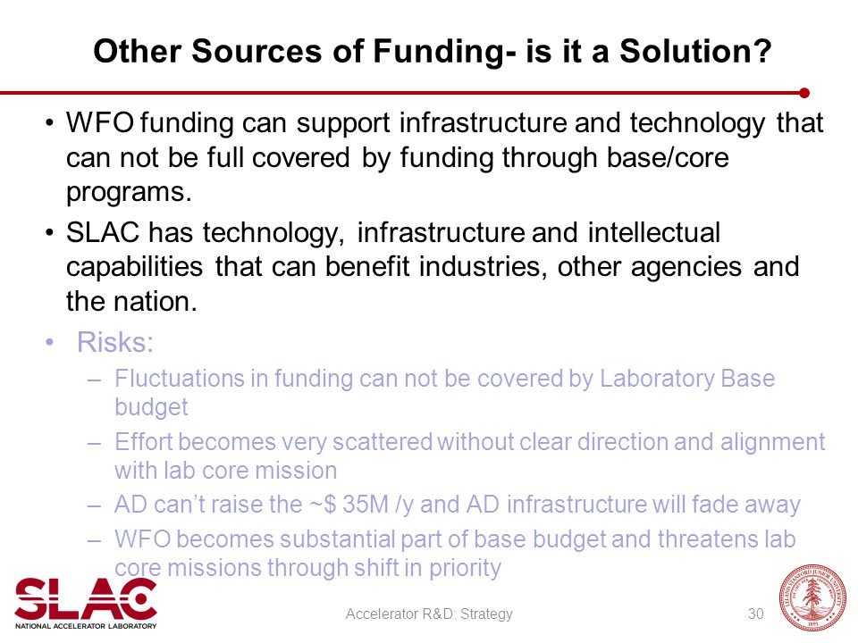 Other Sources of Funding- is it a Solution? WFO funding can support infrastructure and technology that can not be full covered by funding through base