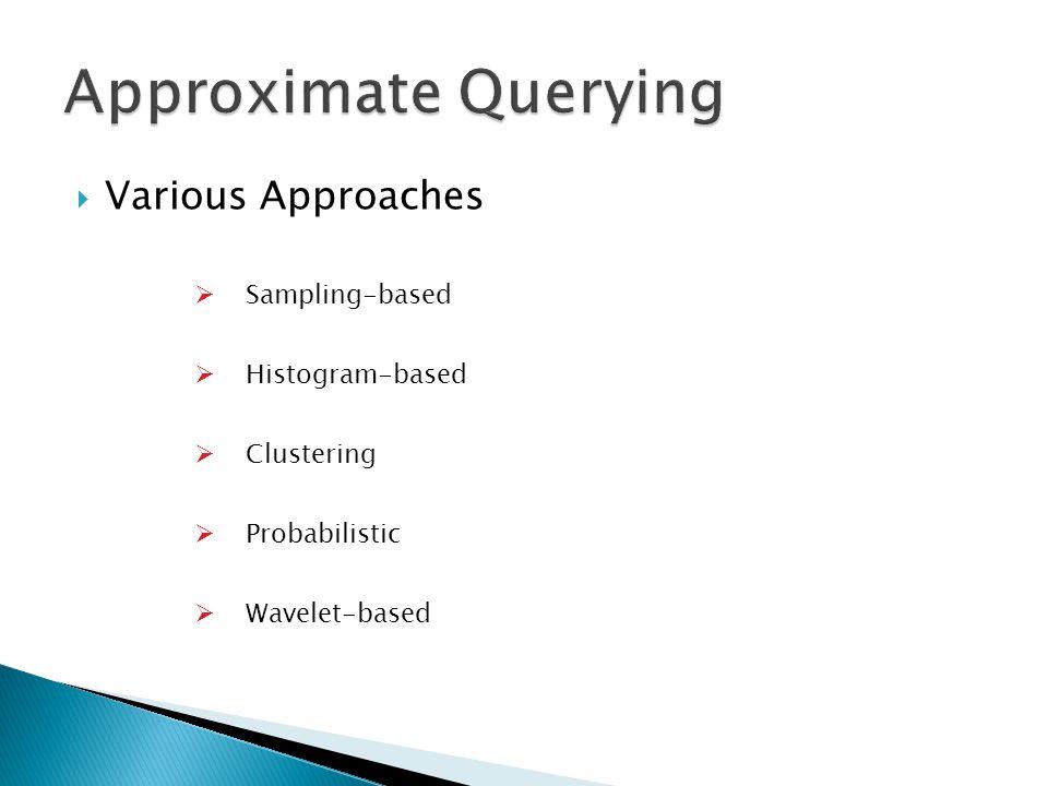  Various Approaches  Sampling-based  Histogram-based  Clustering  Probabilistic  Wavelet-based
