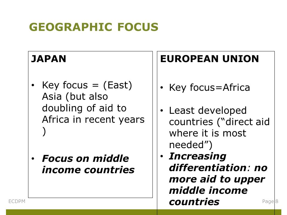 JAPAN Key focus = (East) Asia (but also doubling of aid to Africa in recent years ) Focus on middle income countries GEOGRAPHIC FOCUS Page 8ECDPM EUROPEAN UNION Key focus=Africa Least developed countries ( direct aid where it is most needed ) Increasing differentiation: no more aid to upper middle income countries