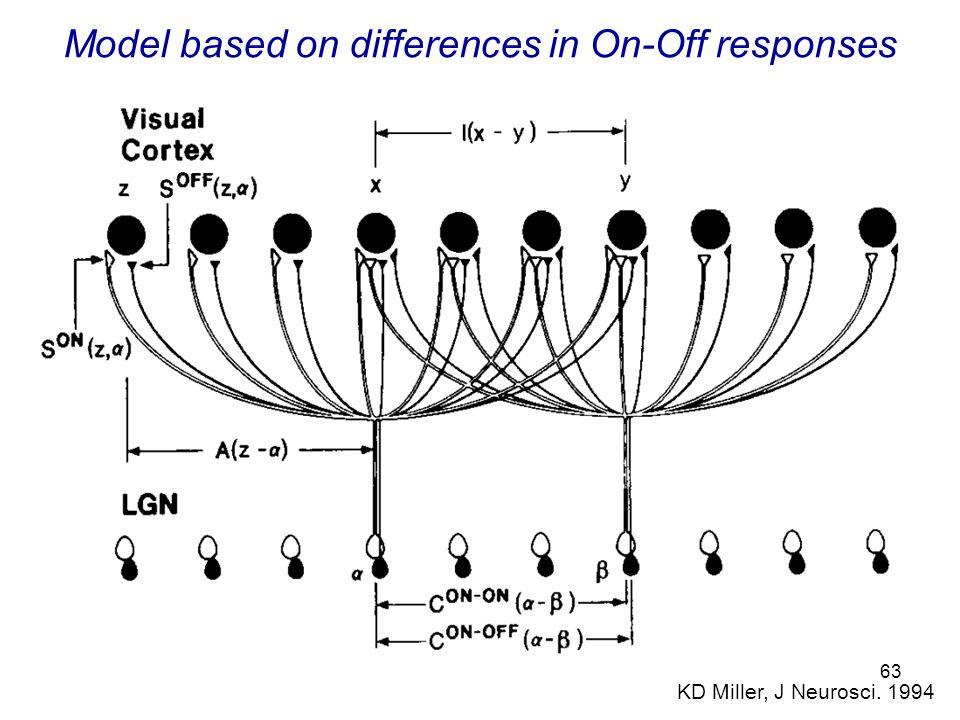 63 Model based on differences in On-Off responses KD Miller, J Neurosci. 1994