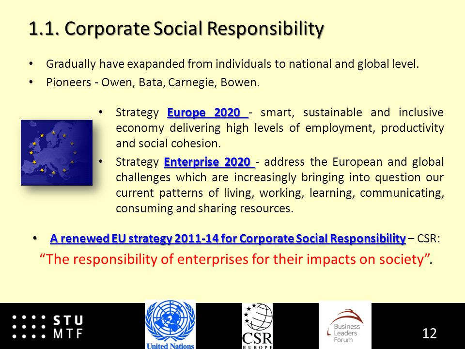 1.1. Corporate Social Responsibility Gradually have exapanded from individuals to national and global level. Pioneers - Owen, Bata, Carnegie, Bowen. E