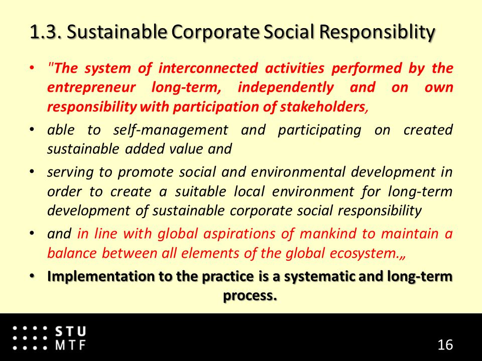 1.3. Sustainable Corporate Social Responsiblity