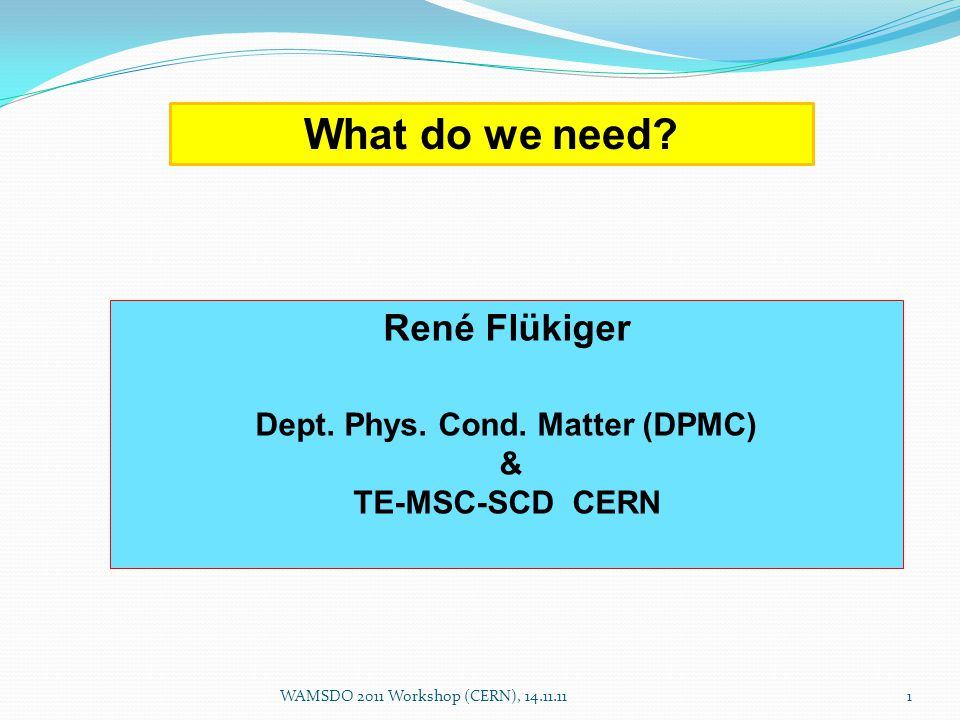 What do we need. René Flükiger Dept. Phys. Cond.
