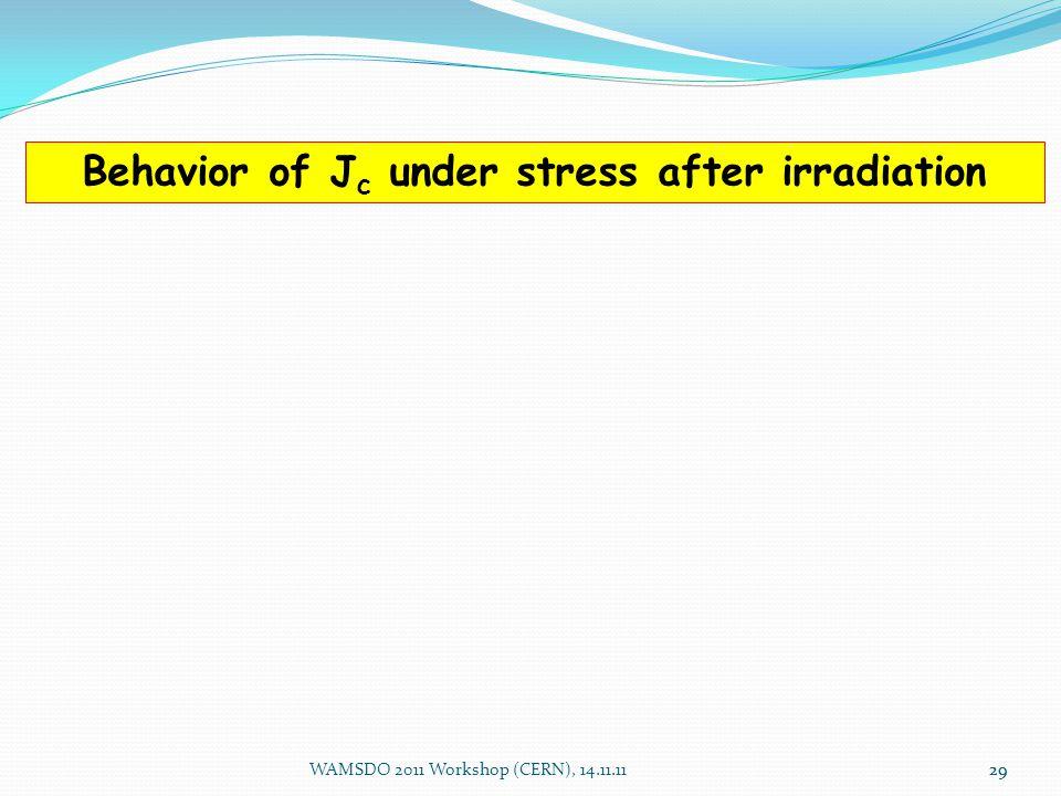 29 Behavior of J c under stress after irradiation WAMSDO 2011 Workshop (CERN), 14.11.1129