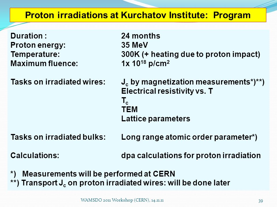Proton irradiations at Kurchatov Institute: Program Duration : 24 months Proton energy: 35 MeV Temperature: 300K (+ heating due to proton impact) Maximum fluence:1x 10 18 p/cm 2 Tasks on irradiated wires:J c by magnetization measurements*)**) Electrical resistivity vs.