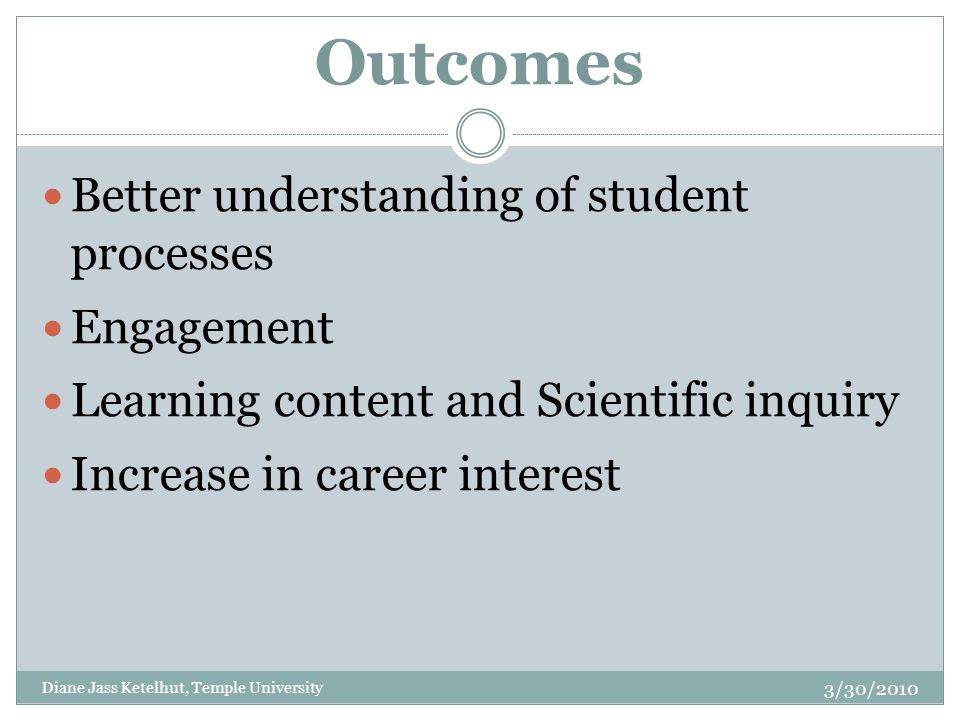 Outcomes Better understanding of student processes Engagement Learning content and Scientific inquiry Increase in career interest 3/30/2010 Diane Jass Ketelhut, Temple University