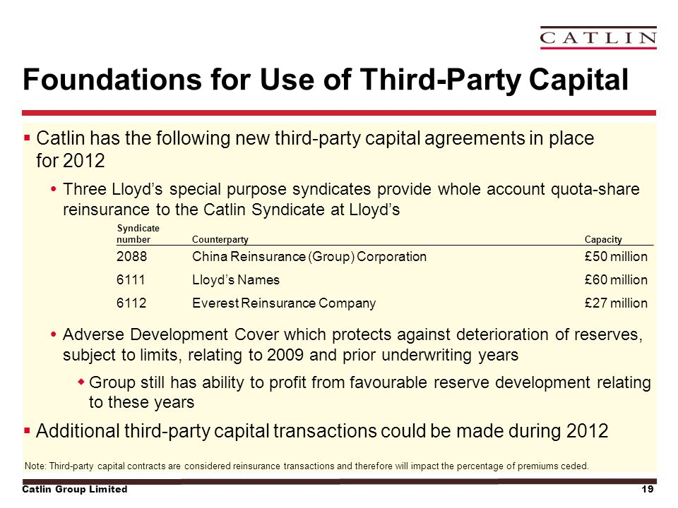 Catlin Group Limited19 Foundations for Use of Third-Party Capital  Catlin has the following new third-party capital agreements in place for 2012  Th