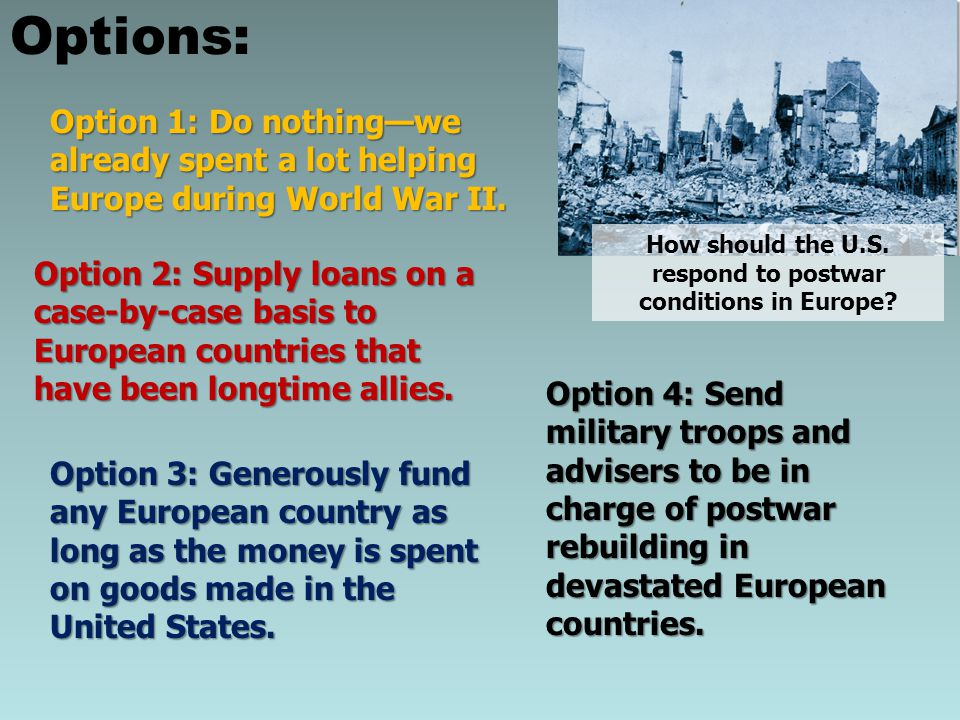 How should the U.S. respond to postwar conditions in Europe? Options: Option 1: Do nothing—we already spent a lot helping Europe during World War II.