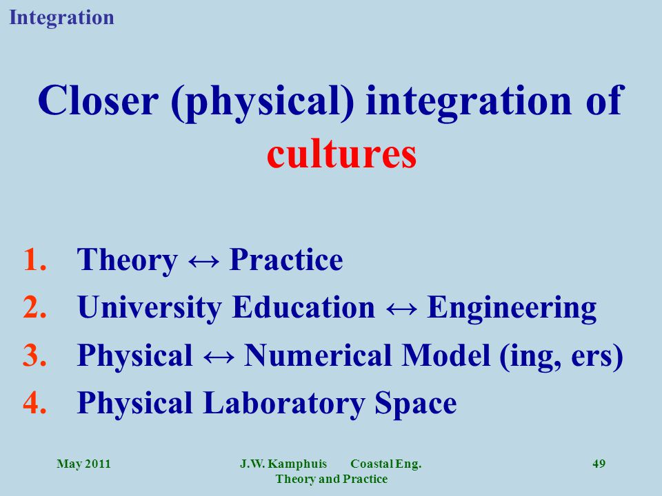 J.W. Kamphuis Coastal Eng. Theory and Practice 49 Closer (physical) integration of cultures 1.Theory ↔ Practice 2.University Education ↔ Engineering 3