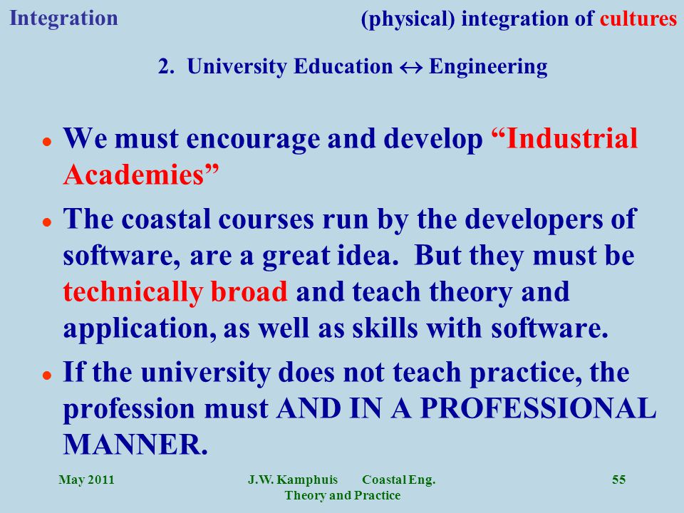 """J.W. Kamphuis Coastal Eng. Theory and Practice 55 l We must encourage and develop """"Industrial Academies"""" l The coastal courses run by the developers o"""