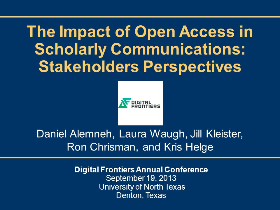 Laura Waugh Faculty/Researchers Mixed Attitudes on Open Access Resistence to change Time factors Wider dissemination Increased citations Cost considerations Copyright fears