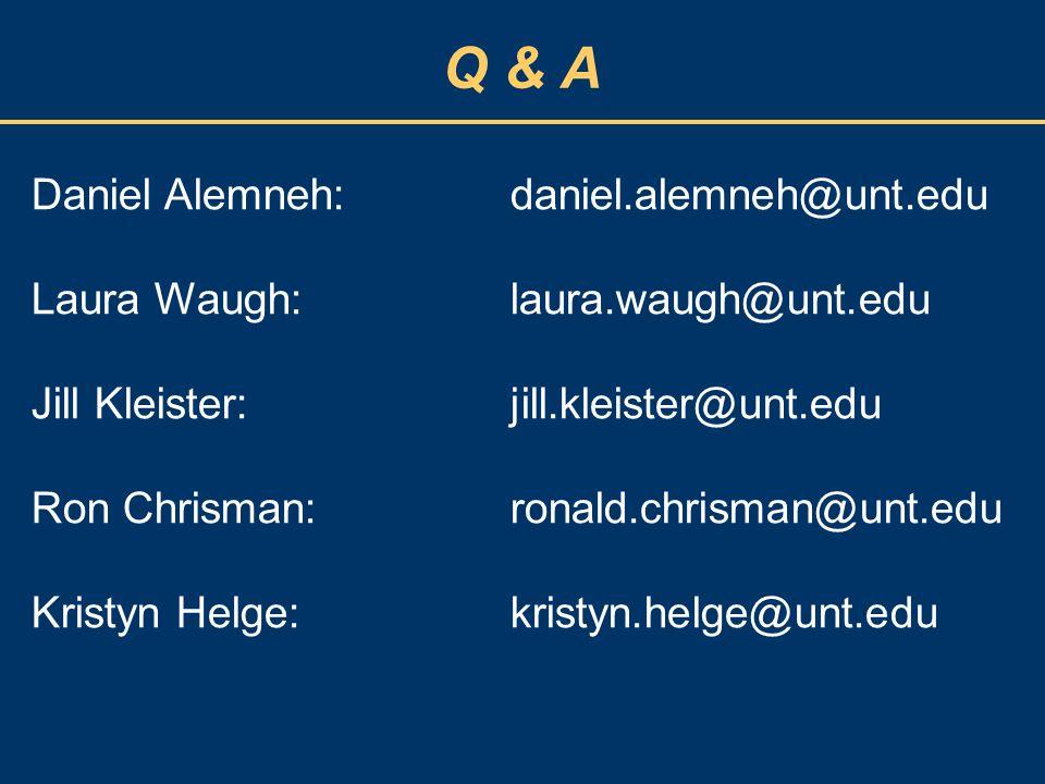 Q & A Daniel Alemneh: daniel.alemneh@unt.edu Laura Waugh: laura.waugh@unt.edu Jill Kleister: jill.kleister@unt.edu Ron Chrisman: ronald.chrisman@unt.e