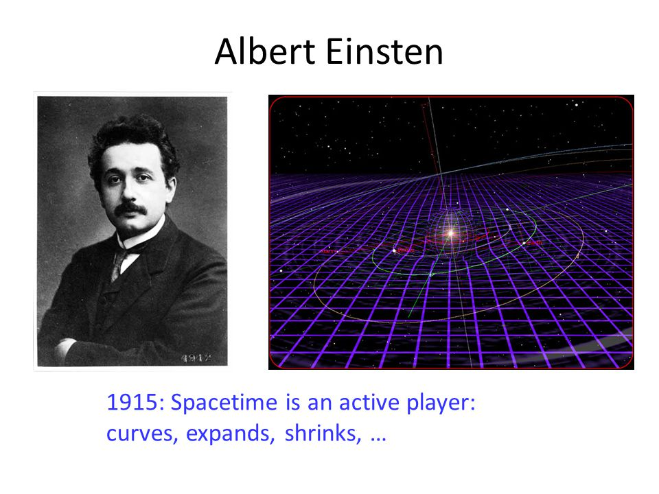 Albert Einsten 1915: Spacetime is an active player: curves, expands, shrinks, …