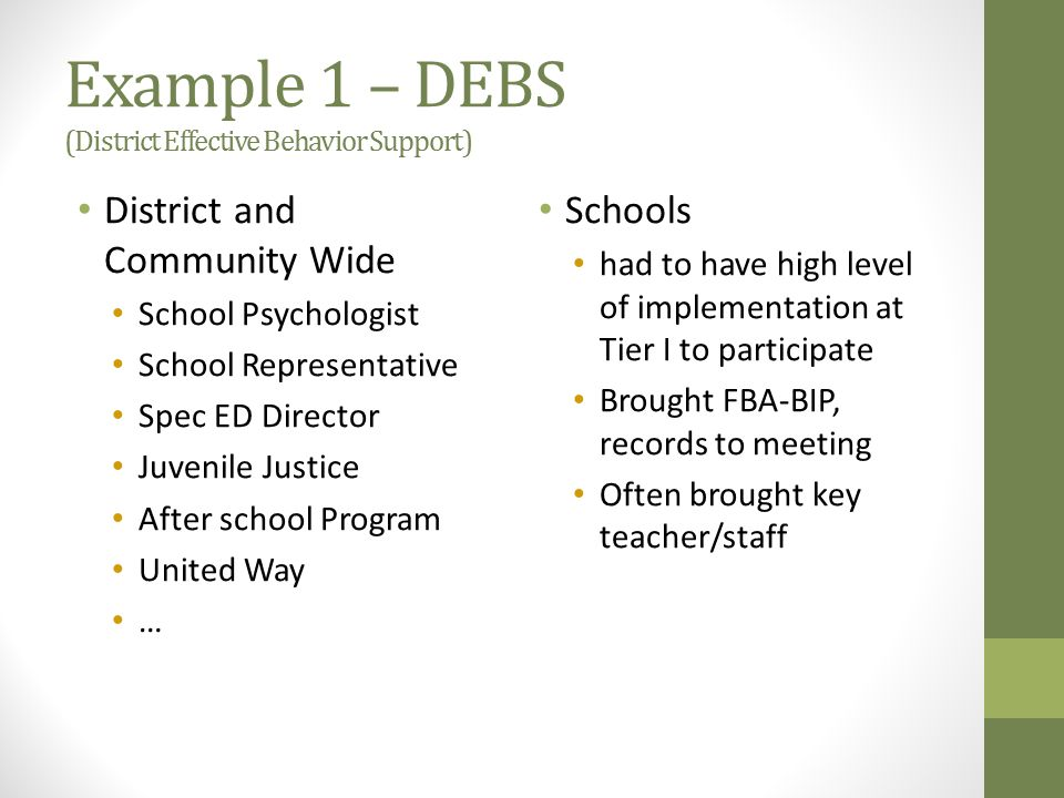 Example 1 – DEBS (District Effective Behavior Support) District and Community Wide School Psychologist School Representative Spec ED Director Juvenile Justice After school Program United Way … Schools had to have high level of implementation at Tier I to participate Brought FBA-BIP, records to meeting Often brought key teacher/staff