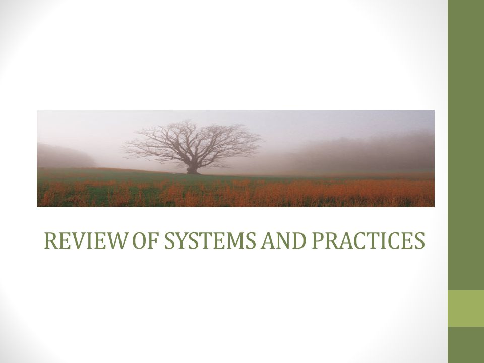 REVIEW OF SYSTEMS AND PRACTICES