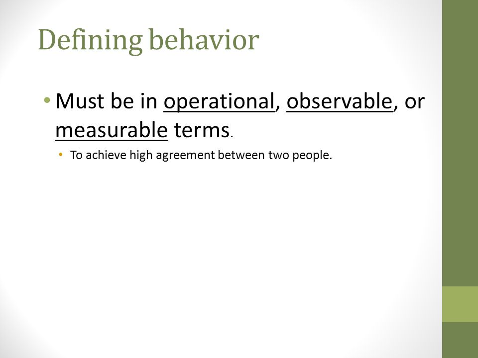 Defining behavior Must be in operational, observable, or measurable terms.