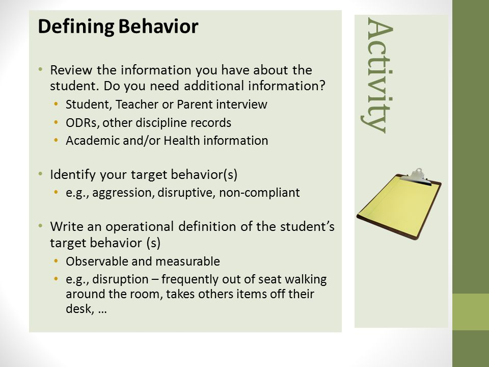 Activity Defining Behavior Review the information you have about thestudent.