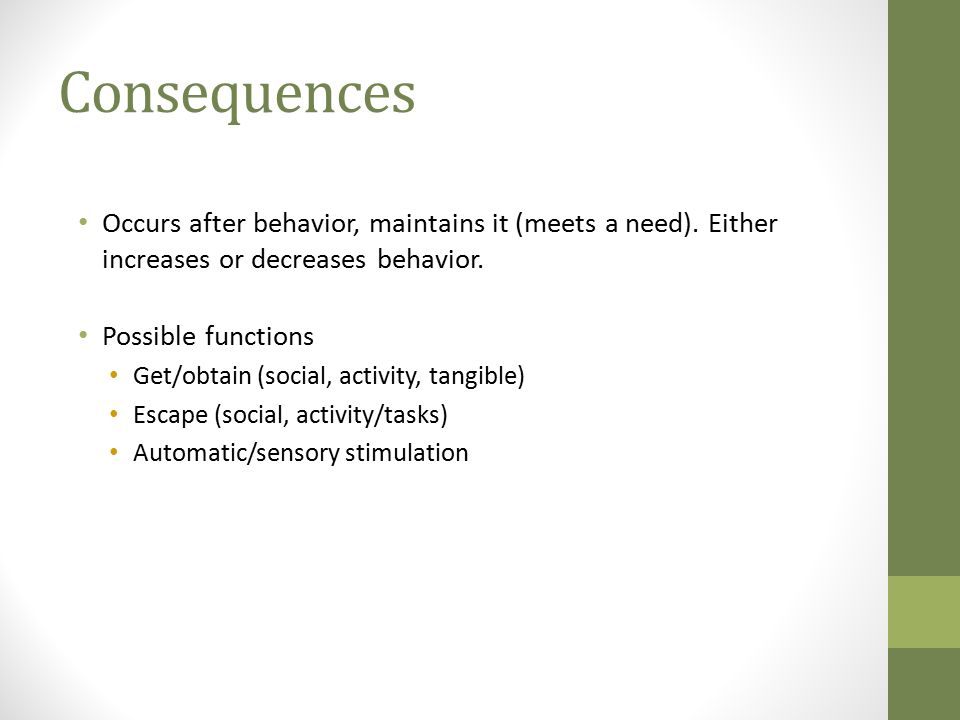 Consequences Occurs after behavior, maintains it (meets a need).