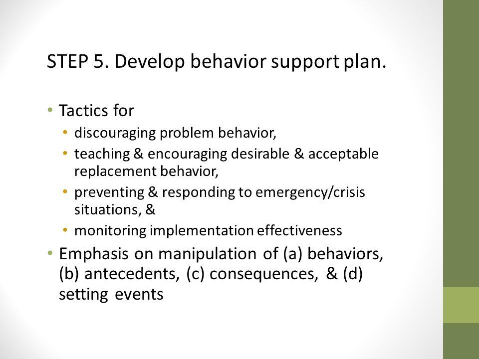 STEP 5.Develop behavior support plan.