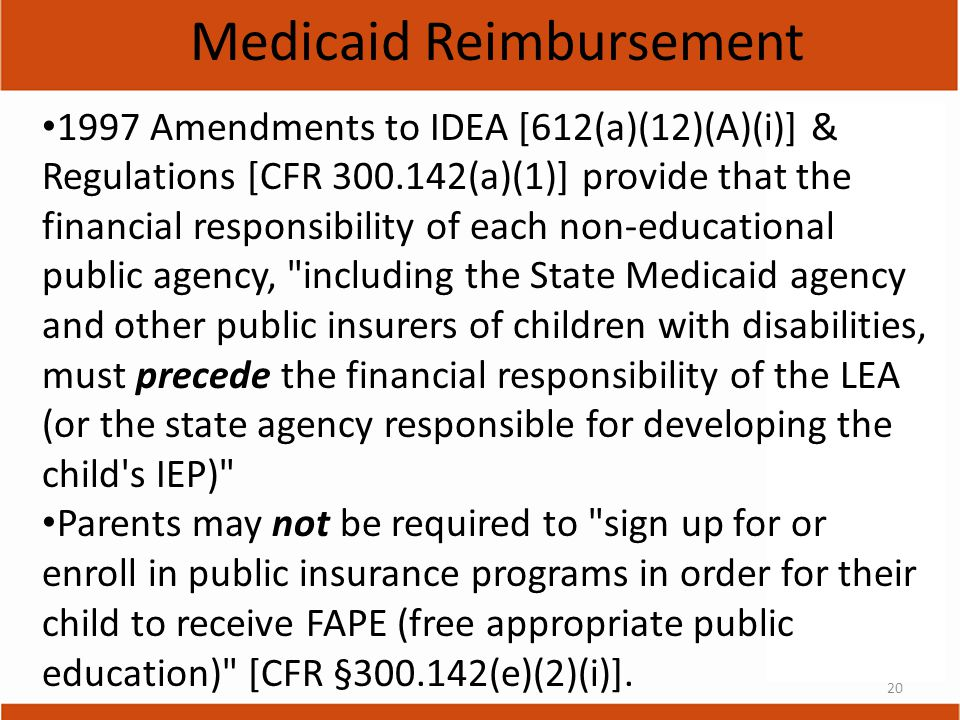 20 Medicaid Reimbursement 1997 Amendments to IDEA [612(a)(12)(A)(i)] & Regulations [CFR 300.142(a)(1)] provide that the financial responsibility of each non-educational public agency, including the State Medicaid agency and other public insurers of children with disabilities, must precede the financial responsibility of the LEA (or the state agency responsible for developing the child s IEP) Parents may not be required to sign up for or enroll in public insurance programs in order for their child to receive FAPE (free appropriate public education) [CFR §300.142(e)(2)(i)].