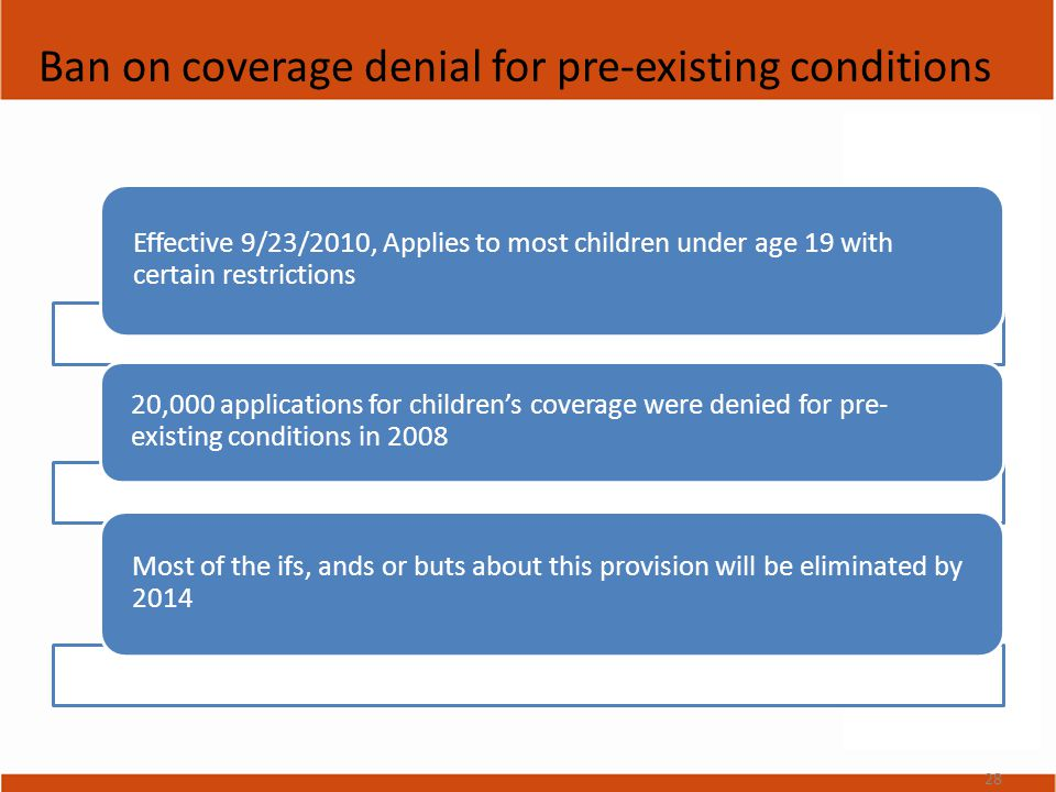 Ban on coverage denial for pre-existing conditions Effective 9/23/2010, Applies to most children under age 19 with certain restrictions 20,000 applications for children's coverage were denied for pre- existing conditions in 2008 Most of the ifs, ands or buts about this provision will be eliminated by 2014 28