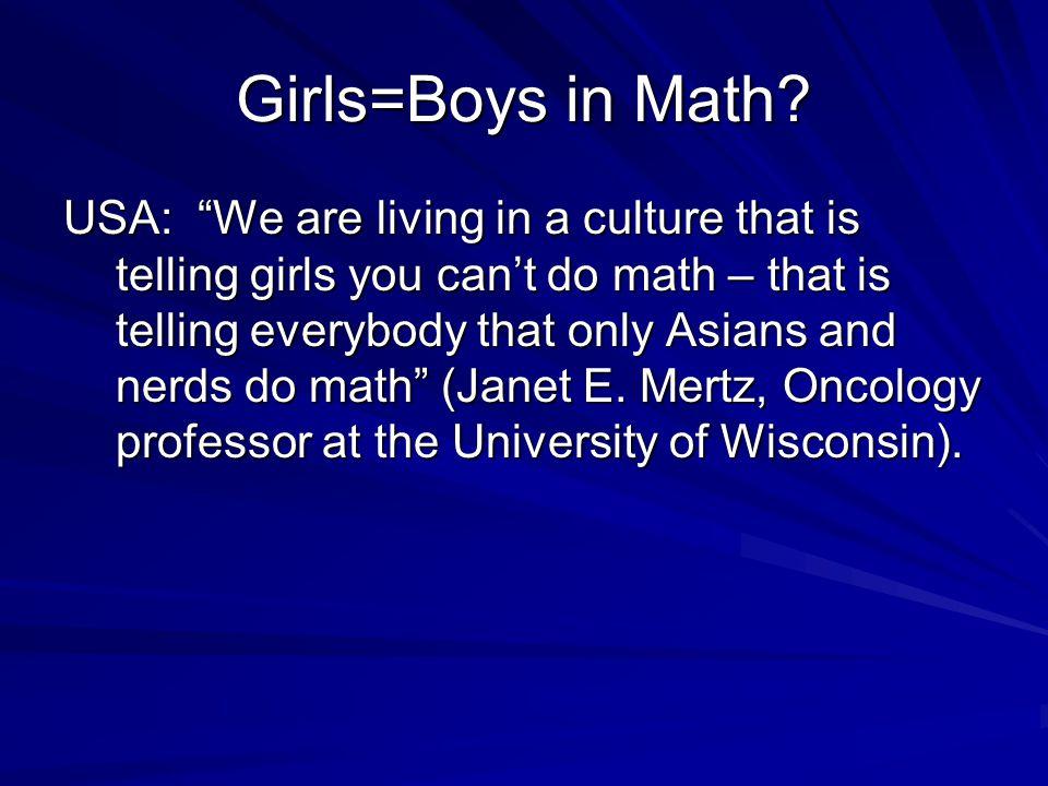 Girls=Boys in Math.