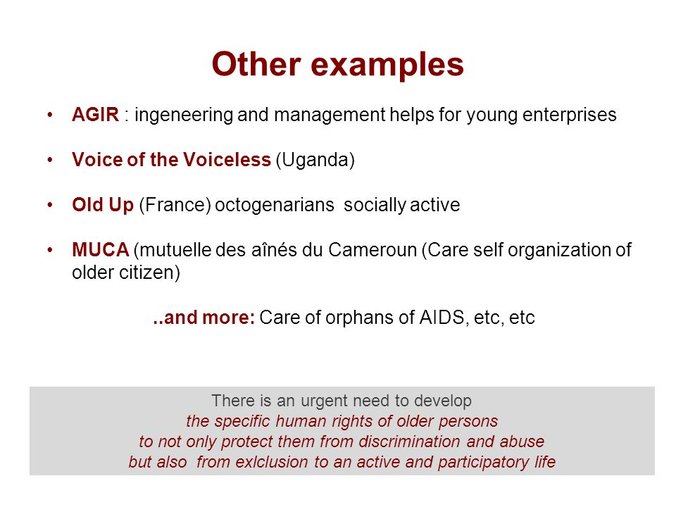 Other examples AGIR : ingeneering and management helps for young enterprises Voice of the Voiceless (Uganda) Old Up (France) octogenarians socially active MUCA (mutuelle des aînés du Cameroun (Care self organization of older citizen)..and more: Care of orphans of AIDS, etc, etc There is an urgent need to develop the specific human rights of older persons to not only protect them from discrimination and abuse but also from exlclusion to an active and participatory life