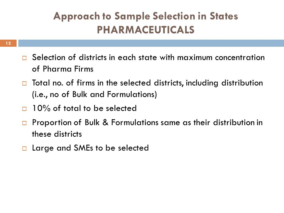 Approach to Sample Selection in States PHARMACEUTICALS  Selection of districts in each state with maximum concentration of Pharma Firms  Total no. o