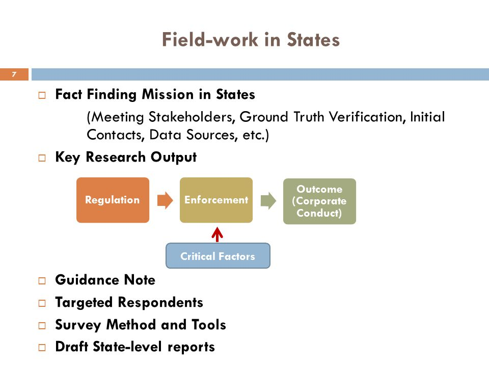 Field-work in States  Fact Finding Mission in States (Meeting Stakeholders, Ground Truth Verification, Initial Contacts, Data Sources, etc.)  Key Re