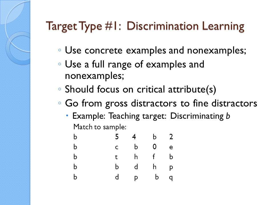 Target Type #1: Discrimination Learning ◦ Use concrete examples and nonexamples; ◦ Use a full range of examples and nonexamples; ◦ Should focus on cri