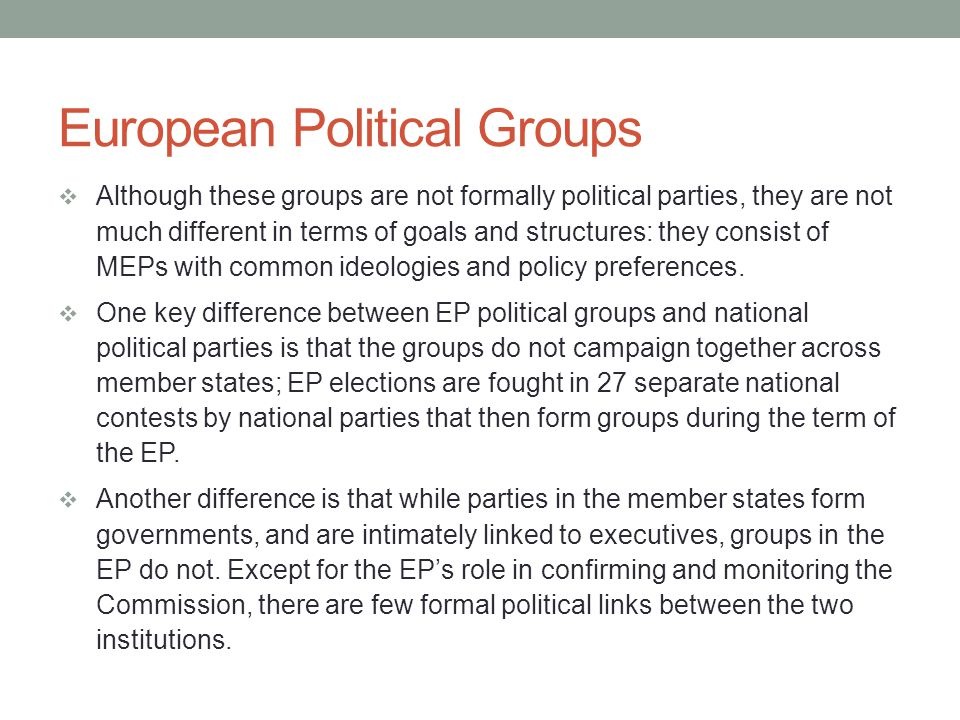 European Political Groups Nationalist Suffering similar levels of instability to the eurosceptics, the nationalists in the EP trace their origins back to the formation in 1984 of the European Right, consisting mainly of French and Italian right-wingers, notably the far-right, French politician Jean-Marie Le Pen.