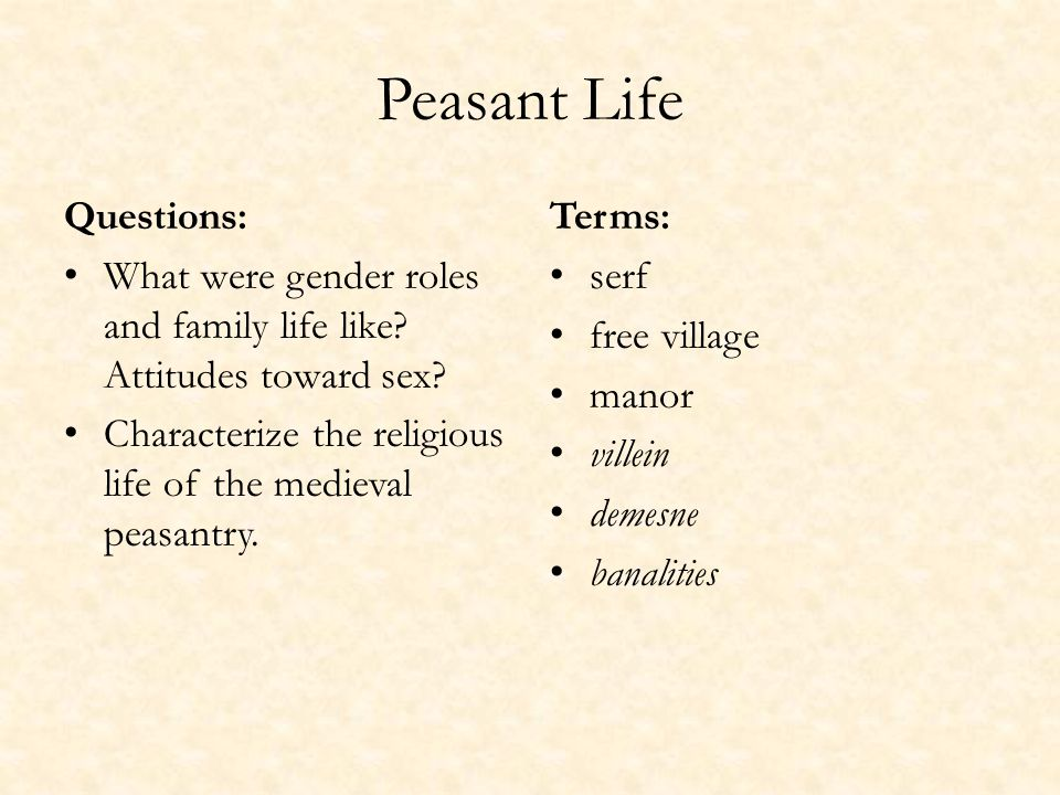 Peasant Life Questions: What were gender roles and family life like.