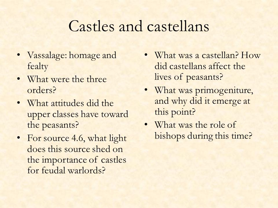Castles and castellans Vassalage: homage and fealty What were the three orders.