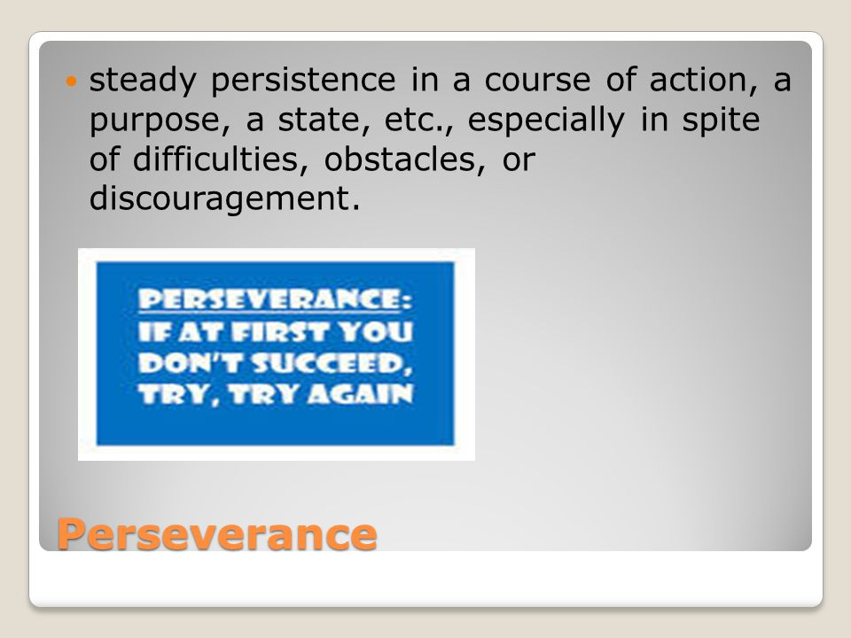 Perseverance steady persistence in a course of action, a purpose, a state, etc., especially in spite of difficulties, obstacles, or discouragement.