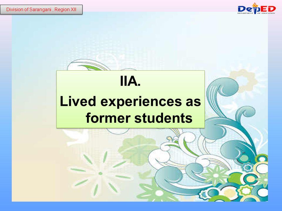 A.1. Personal Experiences Division of Sarangani, Region Xll