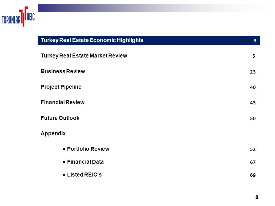 222 3 Turkey Real Estate Economic Highlights 3 Turkey Real Estate Market Review 5 Business Review 23 Project Pipeline 40 Financial Review 43 Future Ou