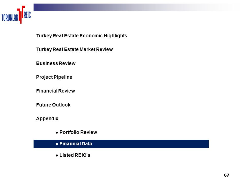 67 3 Turkey Real Estate Economic Highlights Turkey Real Estate Market Review Business Review Project Pipeline Financial Review Future Outlook Appendix