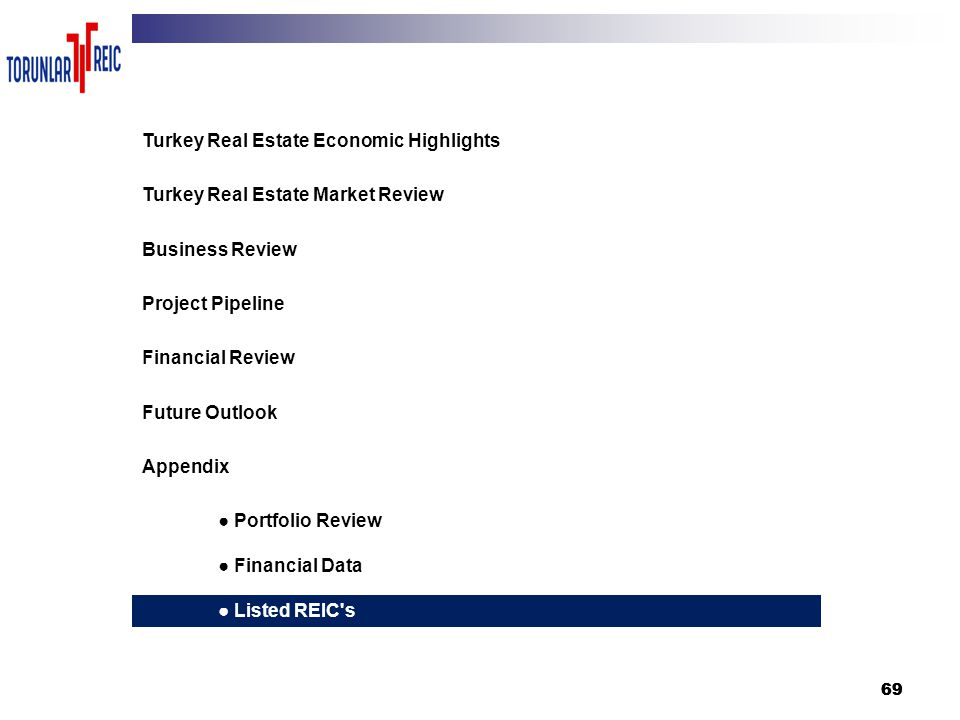 69 3 Turkey Real Estate Economic Highlights Turkey Real Estate Market Review Business Review Project Pipeline Financial Review Future Outlook Appendix