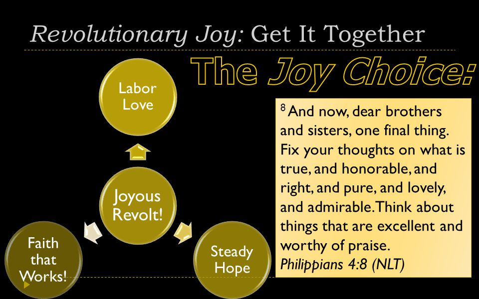 Revolutionary Joy: Get It Together Joyous Revolt. Labor Love Steady Hope Faith that Works.