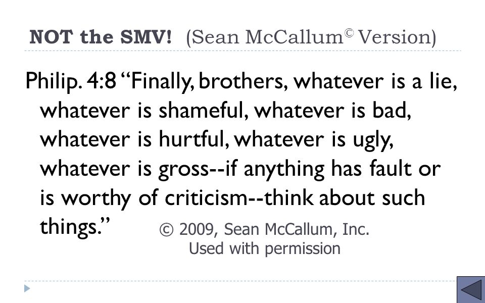 NOT the SMV. (Sean McCallum © Version) Philip.