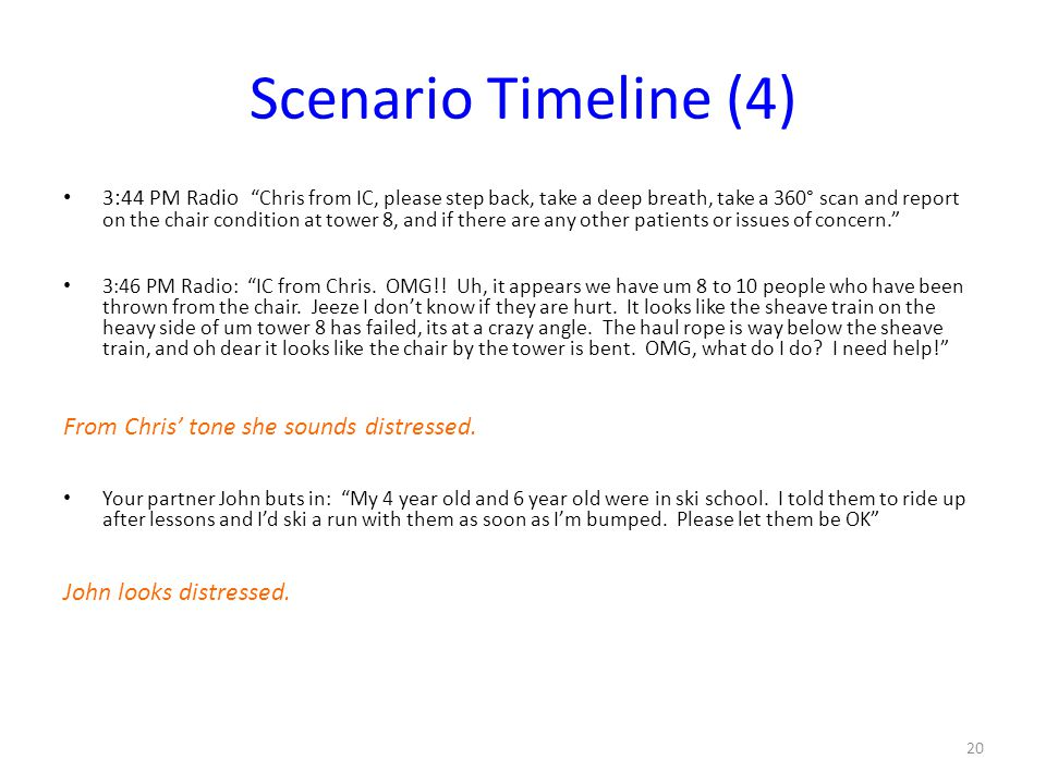"Scenario Timeline (4) 3:44 PM Radio ""Chris from IC, please step back, take a deep breath, take a 360° scan and report on the chair condition at tower"
