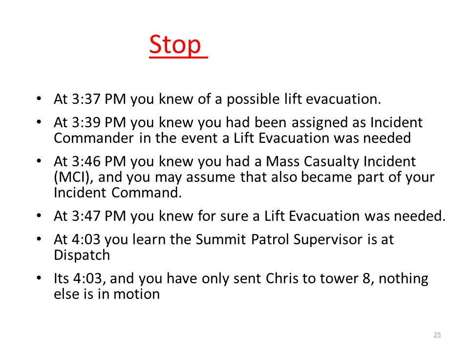 Stop - Rewind! 25 At 3:37 PM you knew of a possible lift evacuation. At 3:39 PM you knew you had been assigned as Incident Commander in the event a Li
