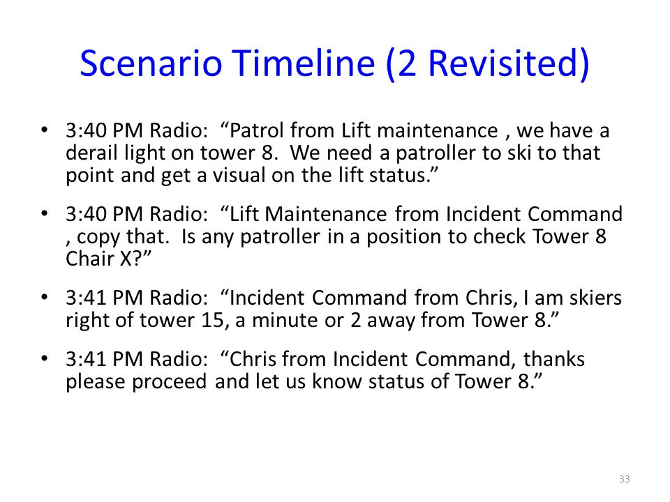 "Scenario Timeline (2 Revisited) 3:40 PM Radio: ""Patrol from Lift maintenance, we have a derail light on tower 8. We need a patroller to ski to that po"