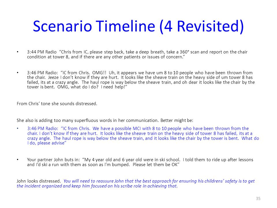 "Scenario Timeline (4 Revisited) 3:44 PM Radio ""Chris from IC, please step back, take a deep breath, take a 360° scan and report on the chair condition"