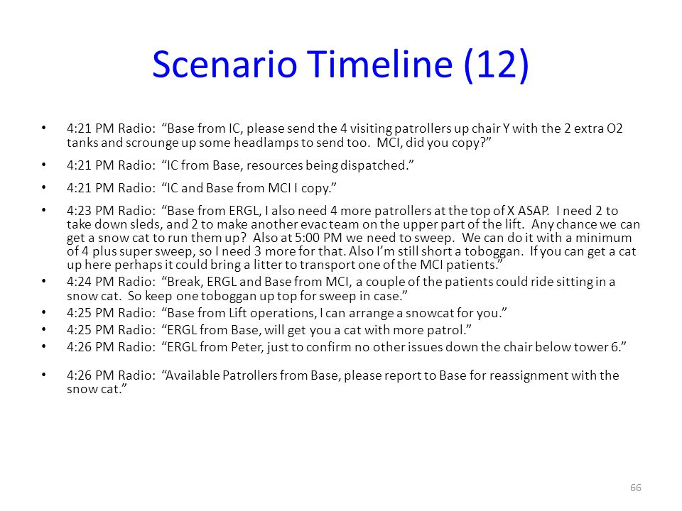 "Scenario Timeline (12) 4:21 PM Radio: ""Base from IC, please send the 4 visiting patrollers up chair Y with the 2 extra O2 tanks and scrounge up some h"