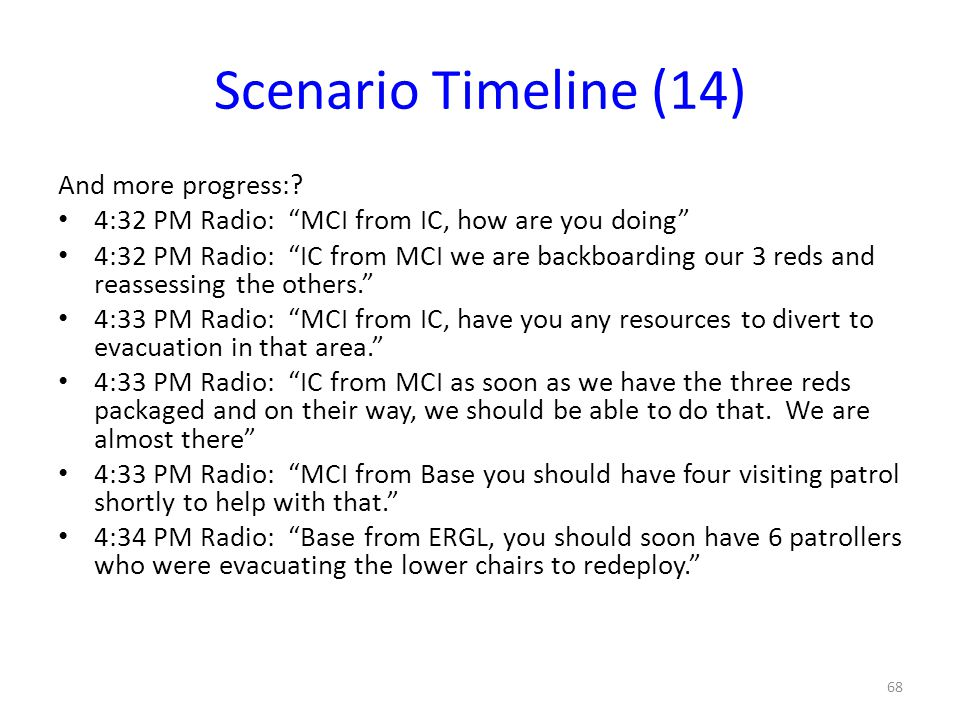"Scenario Timeline (14) And more progress:? 4:32 PM Radio: ""MCI from IC, how are you doing"" 4:32 PM Radio: ""IC from MCI we are backboarding our 3 reds"